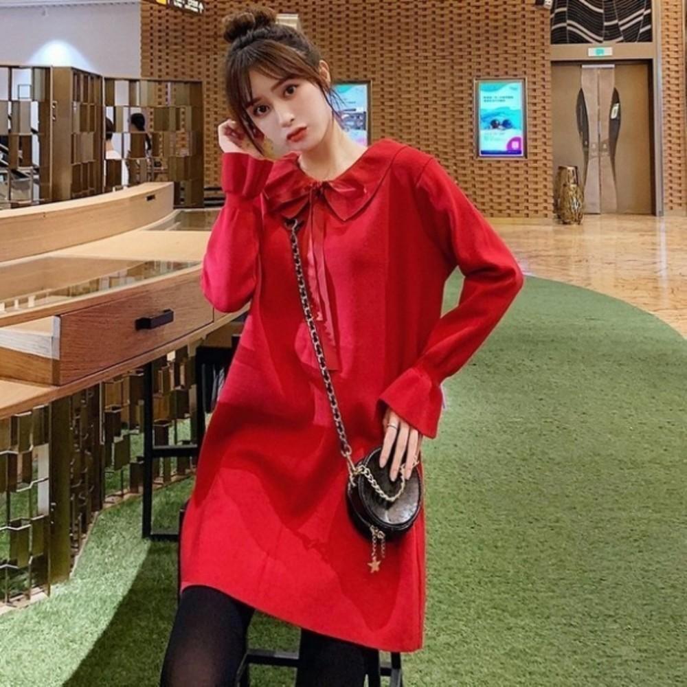 D9319-韓系針織洋裝【D9319】 蝴蝶 娃娃領 純色 長袖 毛衣裙 洋裝 毛線洋裝 毛線裙