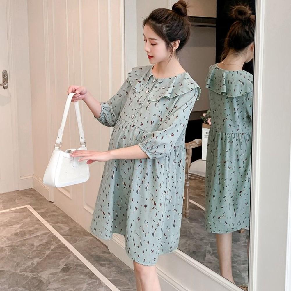 D9321-碎花 七分袖 【D9321】中袖 雪紡 洋裝 娃娃裙 連身裙 孕婦裝