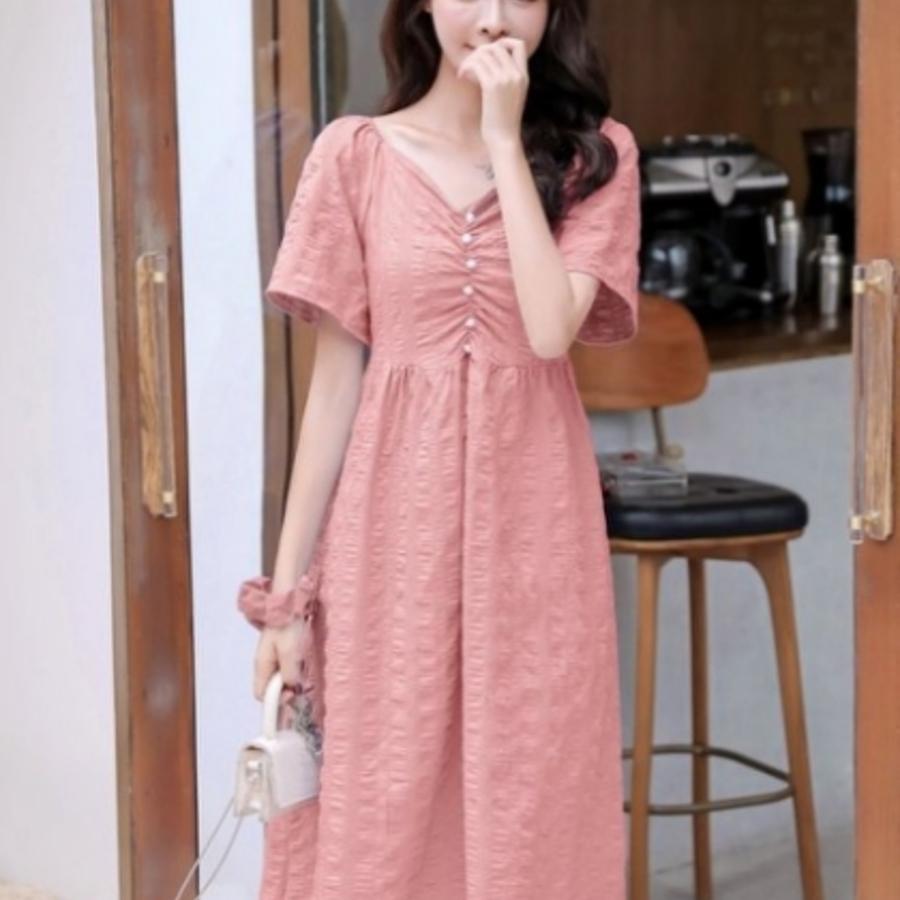 韓式 一字領 無肩線 洋裝 【D9322】 V領 法式 優雅 純色 短袖 小洋裝 孕婦裝 兩穿