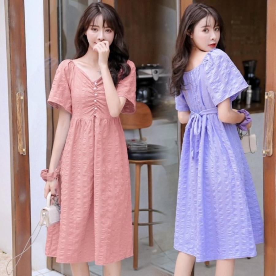 韓式 一字領 無肩線 洋裝 【D9322】 V領 法式 優雅 純色 短袖 小洋裝 孕婦裝 兩穿 封面照片