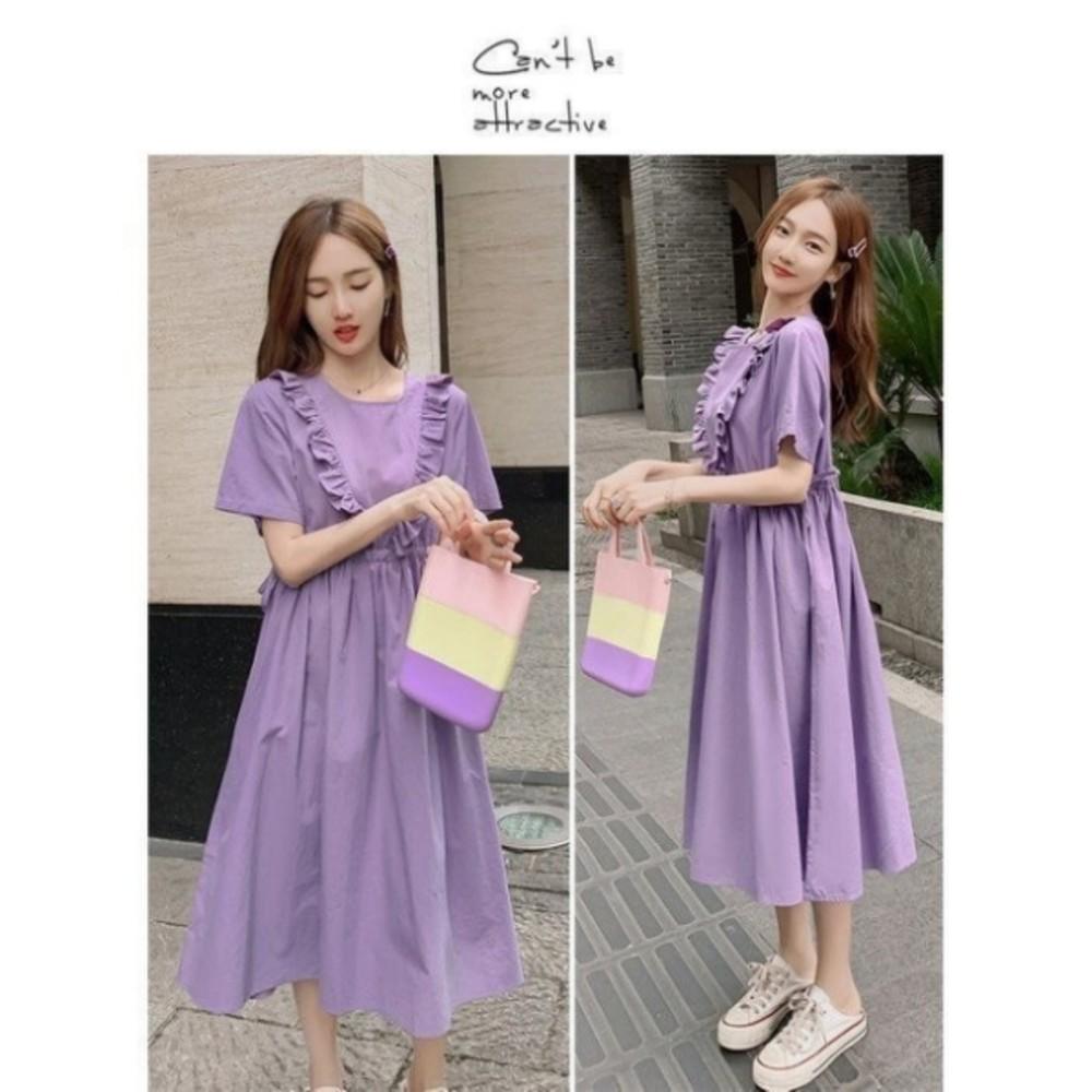 荷葉顯瘦抽繩洋裝 【D9380】 荷葉 短袖 水洗棉 親膚 孕婦裝 洋裝 連身裙 長裙 長洋裝