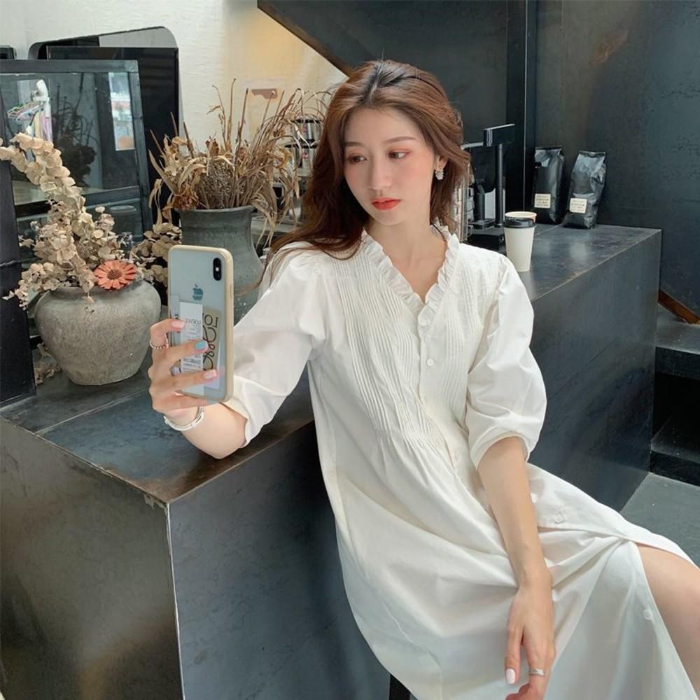 韓系 實拍 V領【D9382】法式 泡泡袖 五分袖 連身裙 中袖 襯衫洋裝