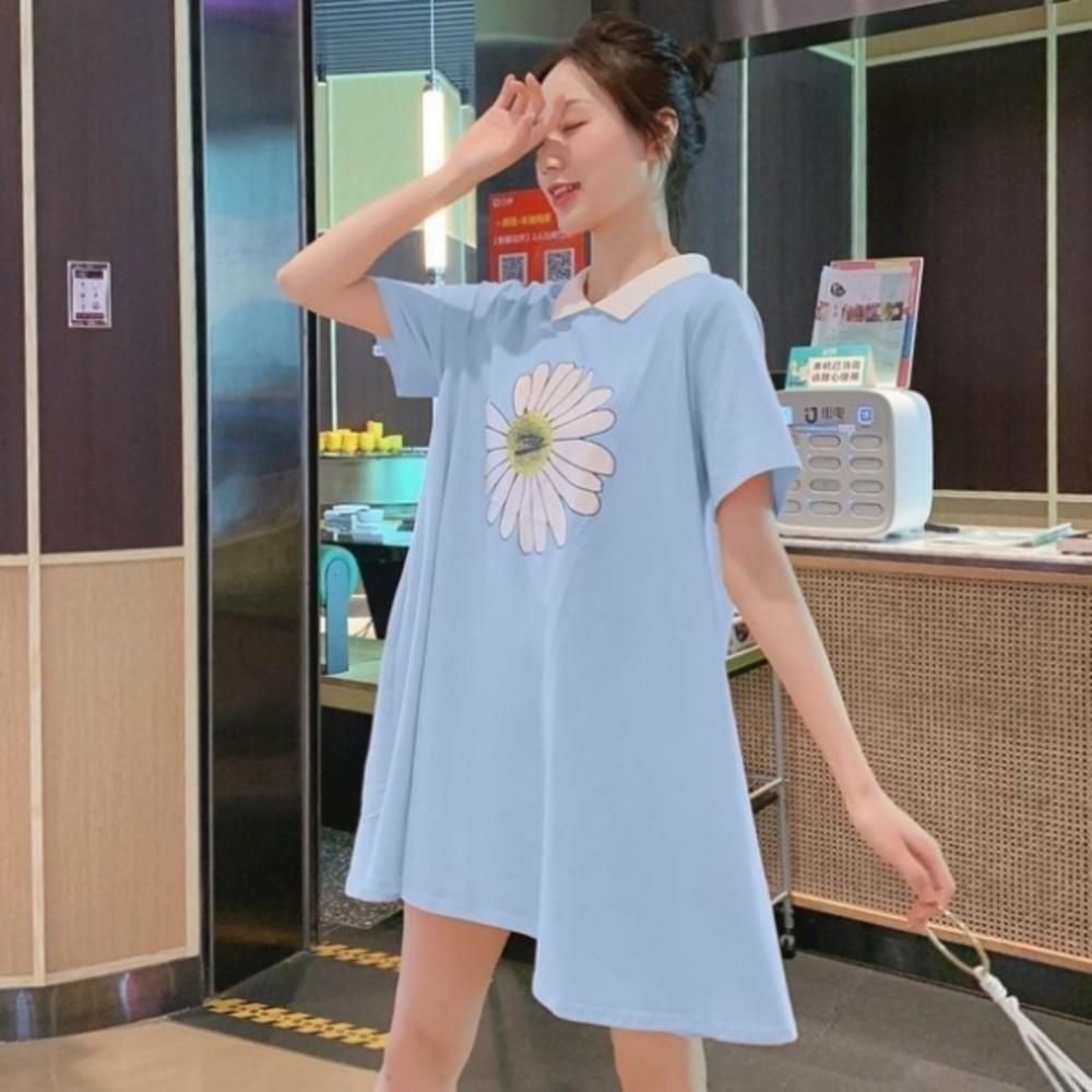 韓系 雛菊印花洋裝 【D9405】 翻領 親膚 孕婦裝 洋裝 連身裙
