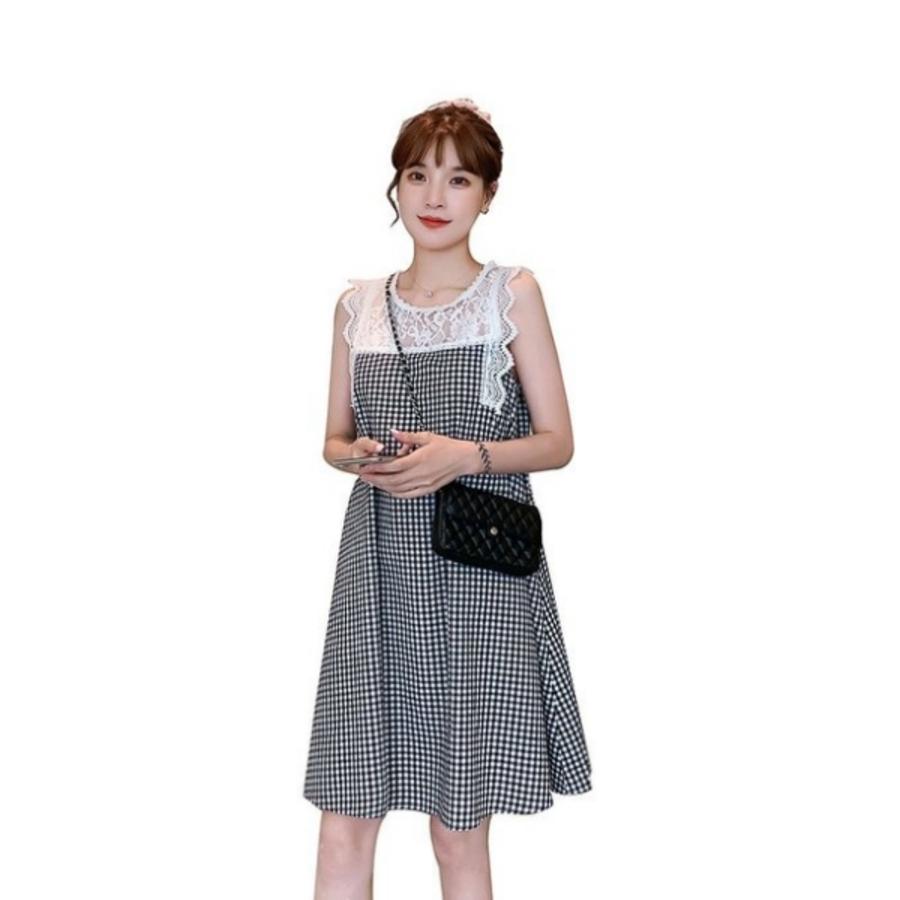 韓系洋裝蕾絲拼接格紋無袖洋裝 【D9412】 無袖 拼接 棉麻 洋裝 連衣裙 有加大尺碼