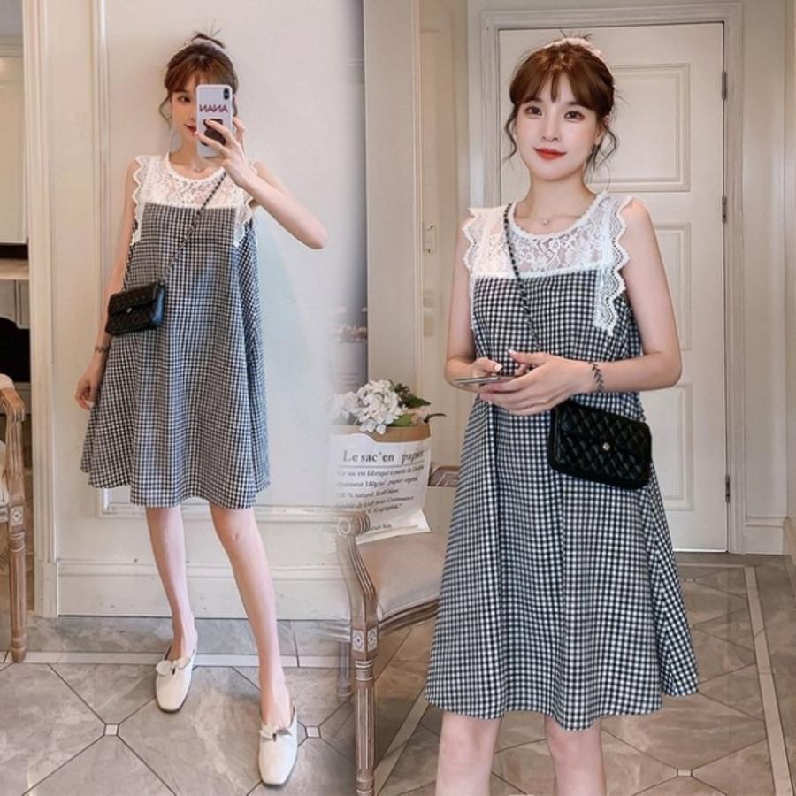 D9412-韓系洋裝蕾絲拼接格紋無袖洋裝 【D9412】 無袖 拼接 棉麻 洋裝 連衣裙 有加大尺碼