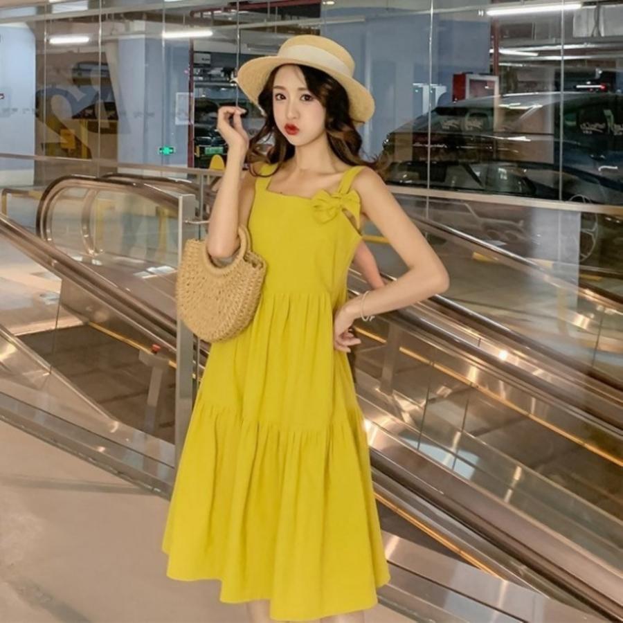 韓系洋裝加寬細肩綁帶無袖洋裝 【D9413】無袖 洋裝 連衣裙 有加大尺碼