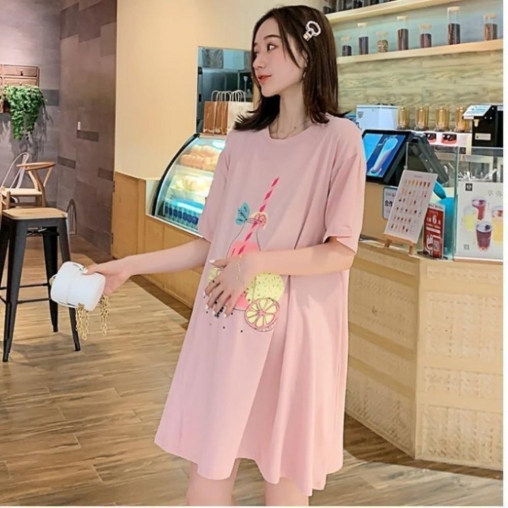 印花傘狀洋裝 【D9464】 質感 水果派對 傘狀 短袖 親膚 洋裝 孕婦裝