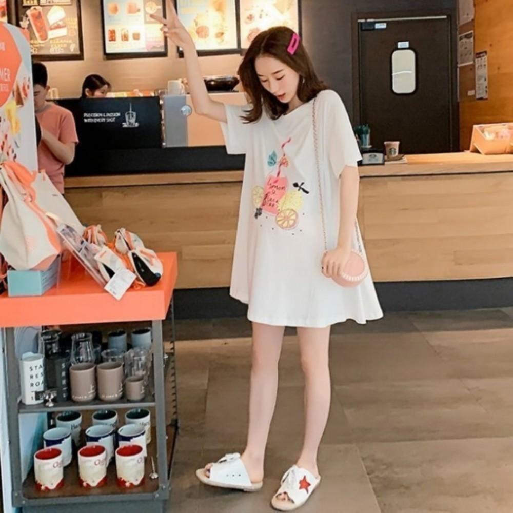 印花傘狀洋裝 【D9464】 質感 水果派對 傘狀 短袖 親膚 洋裝 孕婦裝 封面照片