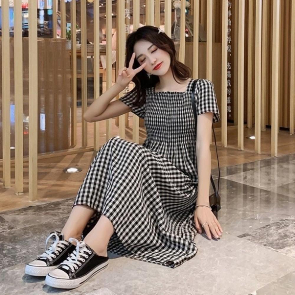 韓系背後交叉洋裝 【D9521】 格紋 短袖 格子紋 孕婦裝 短袖 連身裙