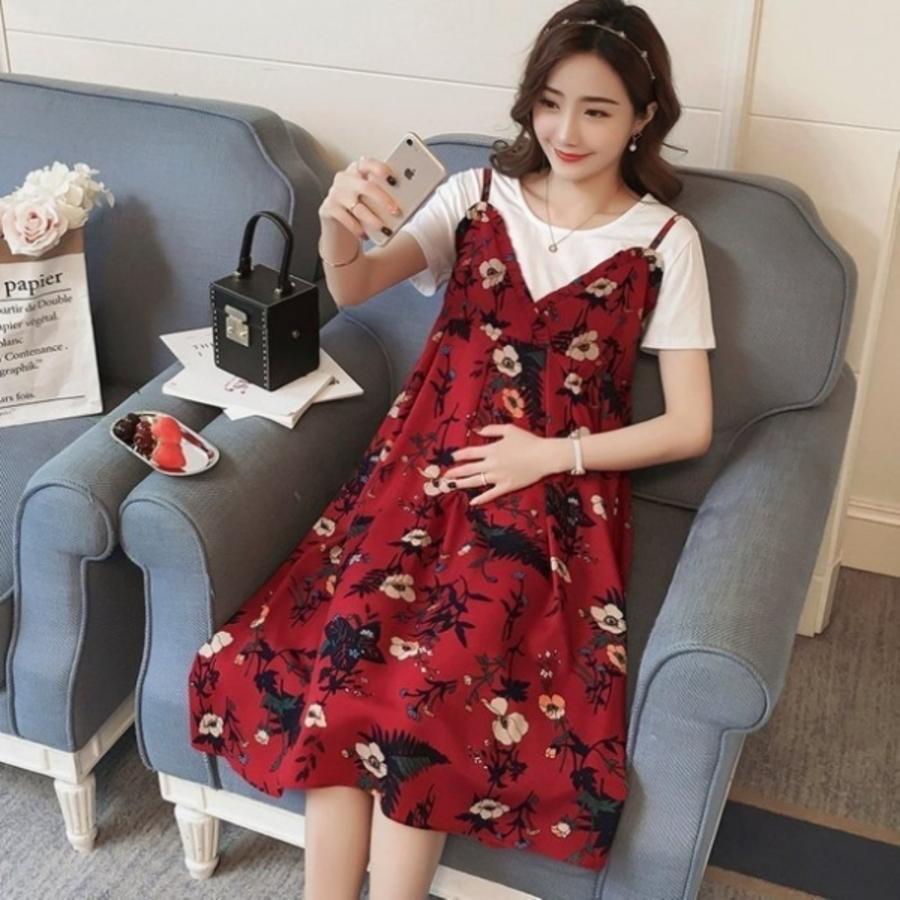 漂亮小媽咪 碎花洋裝 【D9797】 兩件式 吊帶裙 哺乳 長裙 雪紡 長洋裝 孕婦裝 洋裝 連身裙