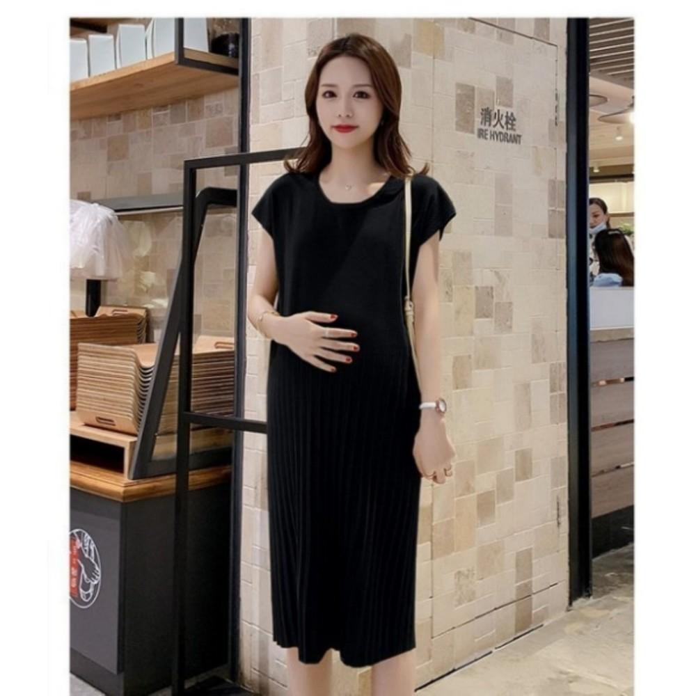 修身洋裝 【D9816】冰絲針織 顯瘦 無肩線 質感 洋裝 孕婦洋裝 純色 孕婦裝