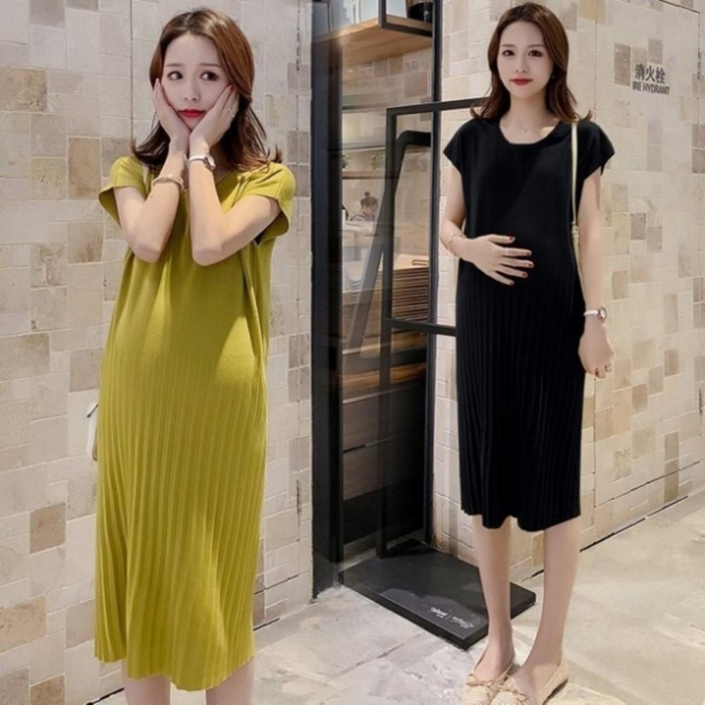 D9816-修身洋裝 【D9816】冰絲針織 顯瘦 無肩線 質感 洋裝 孕婦洋裝 純色 孕婦裝