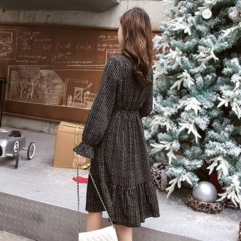 魚尾洋裝【D9833】 雪紡 格紋 長袖 蝴蝶結 繫帶 襯衫洋裝 長裙 魚尾裙 孕婦裝