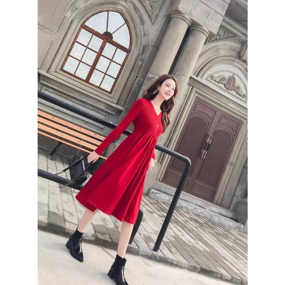 法式兔絨包芯紗針織洋裝【D9839】 高腰V領扣中長款針織毛線連衣裙