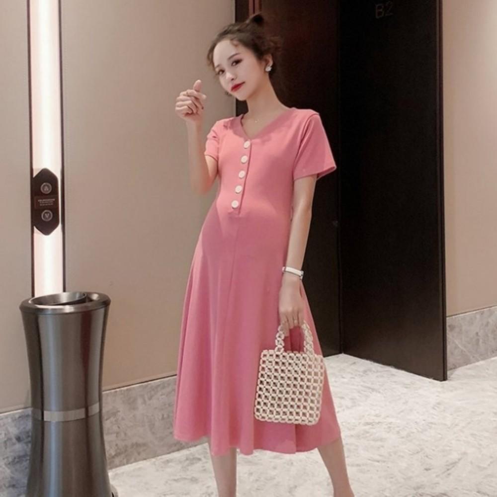 韓系開扣洋裝 【D9852】 純色 修身 顯瘦 鈕扣 短袖洋裝 孕婦洋裝 質感 孕婦裝