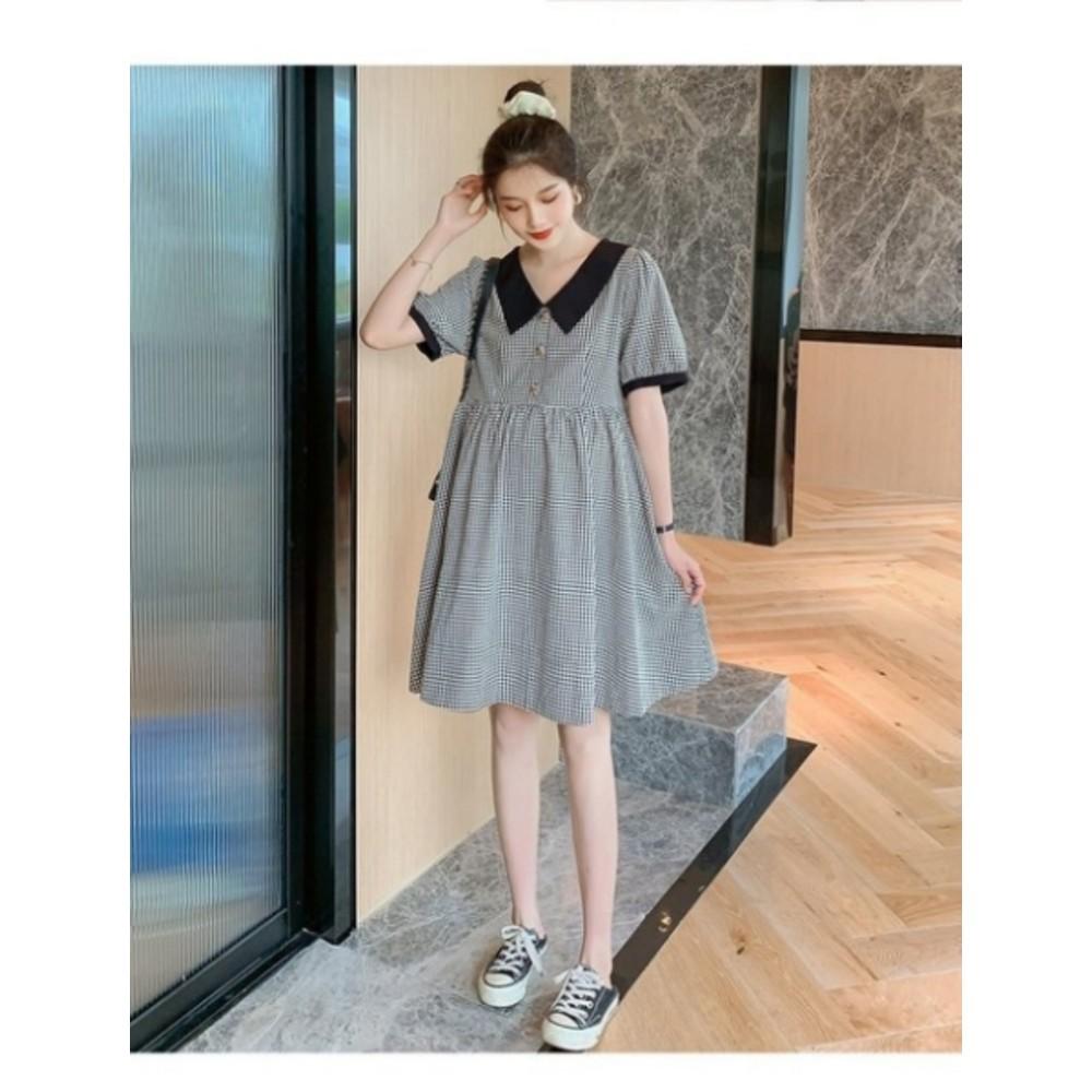 韓系 格紋 泡泡袖 翻領洋裝 【D9877】M-XXL 實拍 格子 翻領 短袖 孕婦洋裝 孕婦裝 襯衫