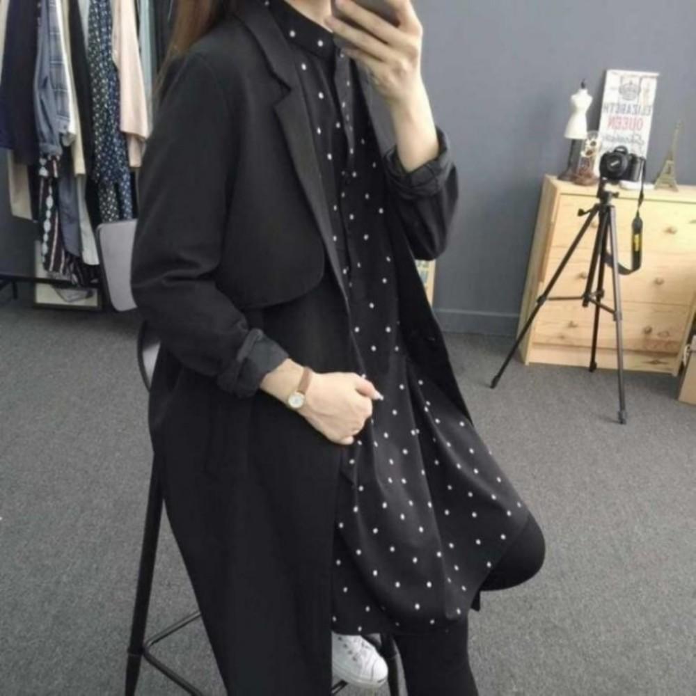 韓系洋裝 【D9888】 長袖 哺乳衣 點點 立領 雪紡洋裝 長版襯衫 襯衫洋裝 孕婦裝
