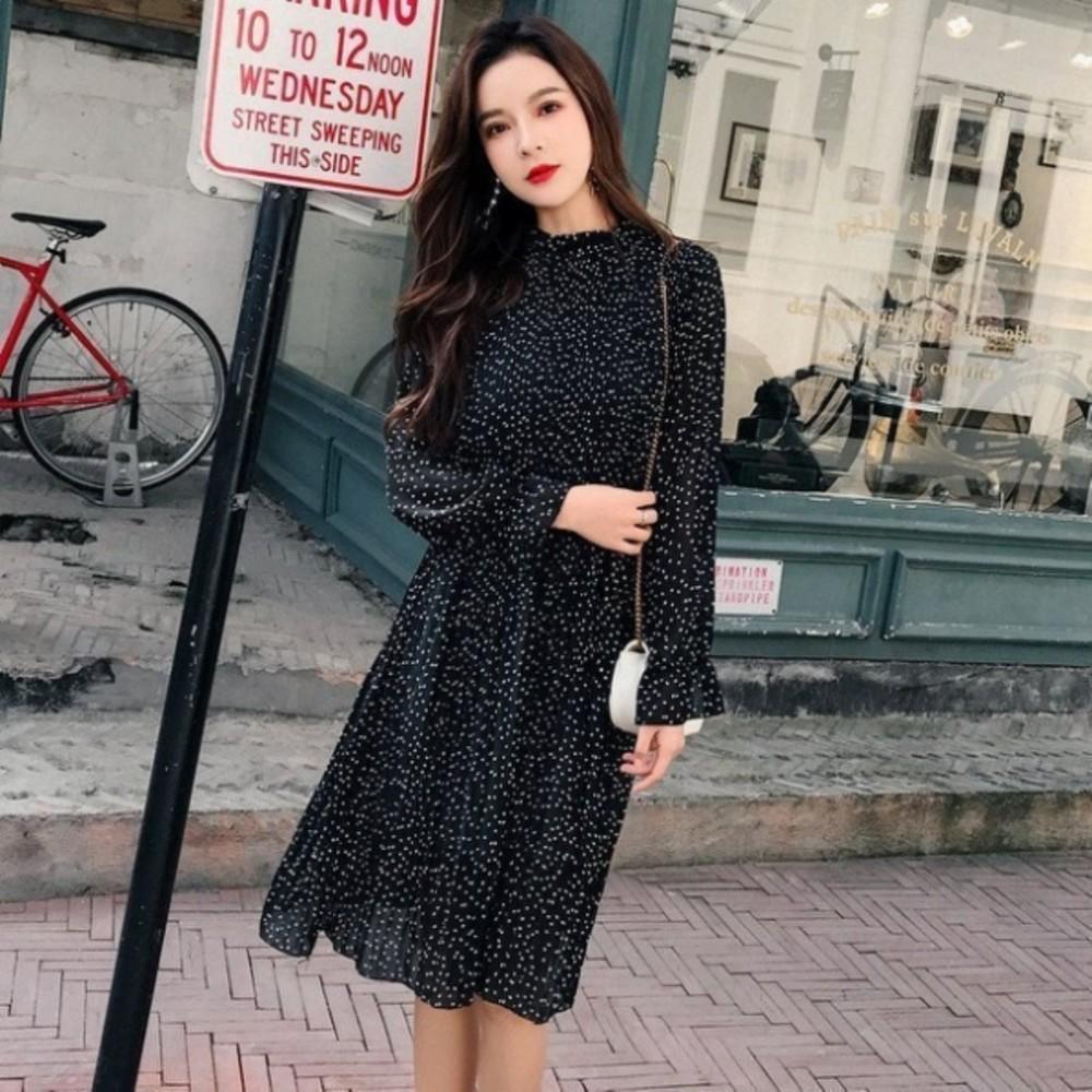 韓系 連身裙 【D9898】碎花 波點 長袖 百褶 長裙 孕婦裝 孕婦洋裝