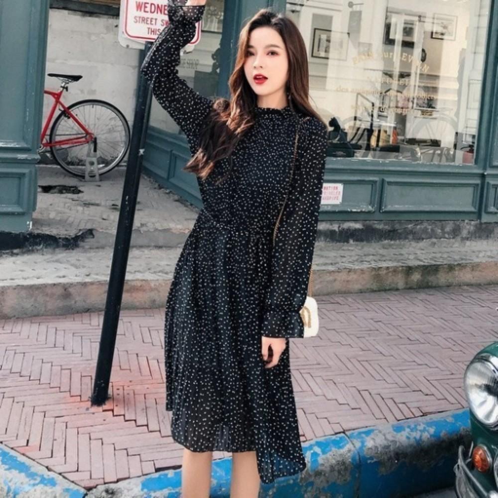 韓系 連身裙 【D9898】碎花 波點 長袖 百褶 長裙 孕婦裝 孕婦洋裝 封面照片