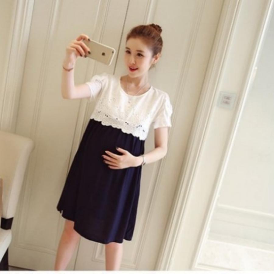 韓系優雅洋裝 【D9910】 布 蕾絲短袖洋裝 孕婦裝 蝴蝶結 包袖 孕婦洋裝