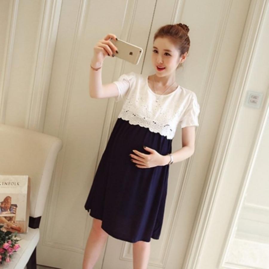 D9910 - 韓系優雅洋裝 【D9910】 布 蕾絲短袖洋裝 孕婦裝 蝴蝶結 包袖 孕婦洋裝