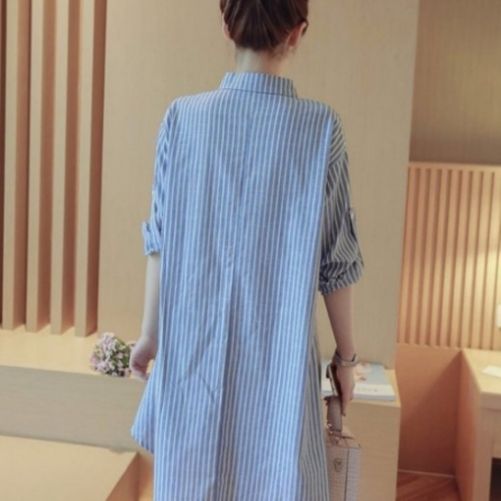 襯衫洋裝 【D9923】 條紋 可反摺袖 長袖 棉麻 襯衫 孕婦裝 孕婦洋裝 開扣 長版襯衫