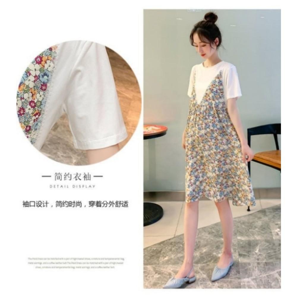 韓式 假兩件 碎花洋裝 【D9931】 假二件 背心裙 短袖 小洋裝 吊帶裙 孕婦裝