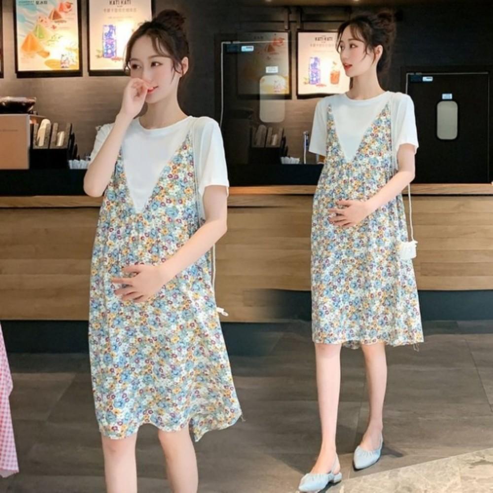 D9931-韓式 假兩件 碎花洋裝 【D9931】 假二件 背心裙 短袖 小洋裝 吊帶裙 孕婦裝