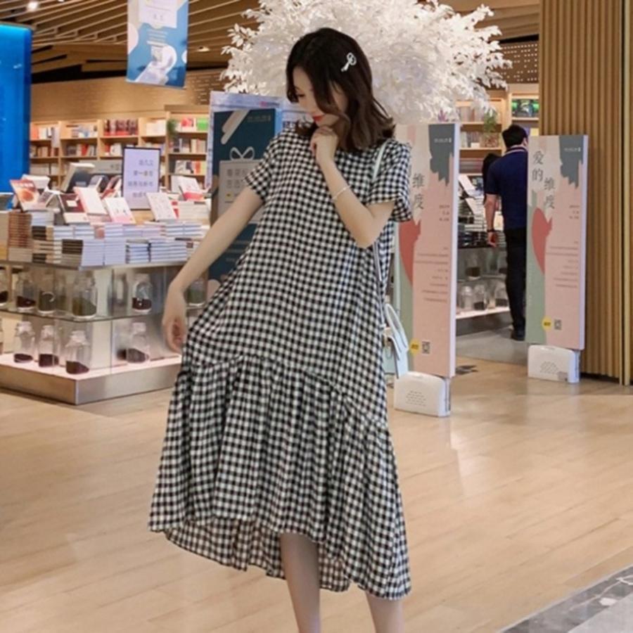 韓式 甜美 格紋 魚尾洋裝 【D9983】 格子 短袖 魚尾裙 洋裝 孕婦裝