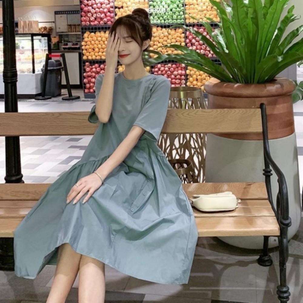 韓系質感 洋裝 【D9987】 寬鬆 短袖 拼接 中長款 洋裝 孕婦裝