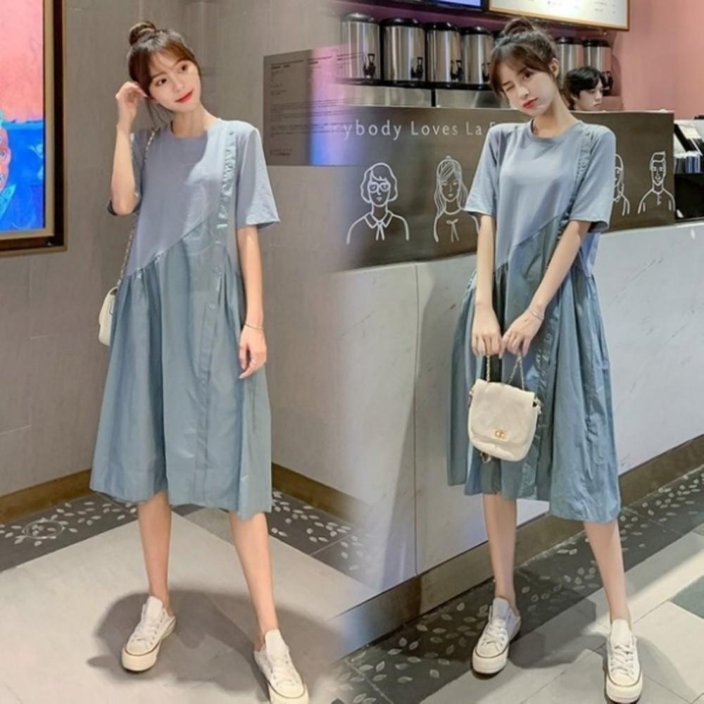 D9987-韓系質感 洋裝 【D9987】 寬鬆 短袖 拼接 中長款 洋裝 孕婦裝