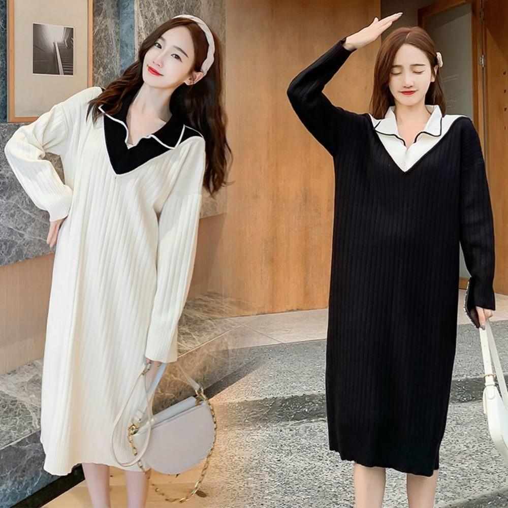 實拍 韓系 假兩件 毛衣【DB1312】V領 長袖 針織 假二件 針織裙 哺乳 毛衣裙