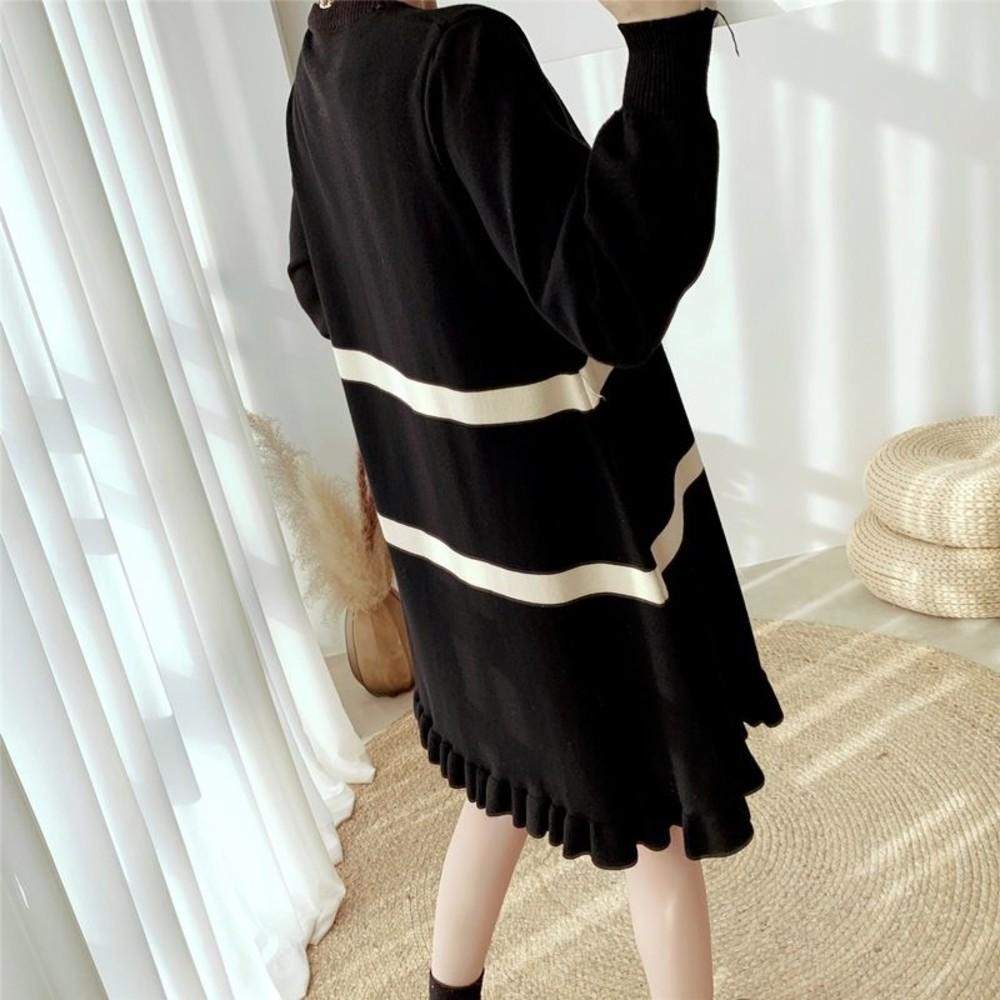 實拍 韓系 條紋 波浪裙 【DB2125】長裙 針織裙 燈籠袖 哺乳連衣裙 毛衣