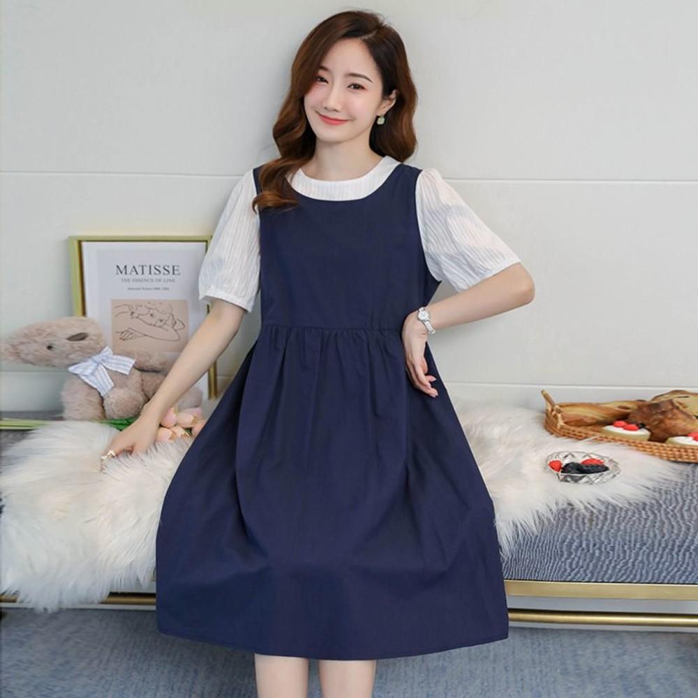 韓系 實拍 假二件 連衣裙【DB2219】假兩件 背心裙 泡泡袖 短袖 哺乳 撞色 洋裝
