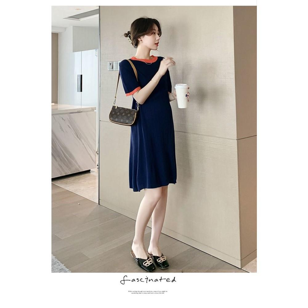 實拍 韓系 撞色 連衣裙【DB8316】V領 短袖 針織 針織裙 哺乳 連身裙