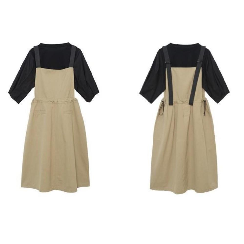 韓系 兩件式 吊帶洋裝【DS1158】宮廷泡泡袖 二件式 吊帶裙 背心裙 背心洋裝  背帶裙