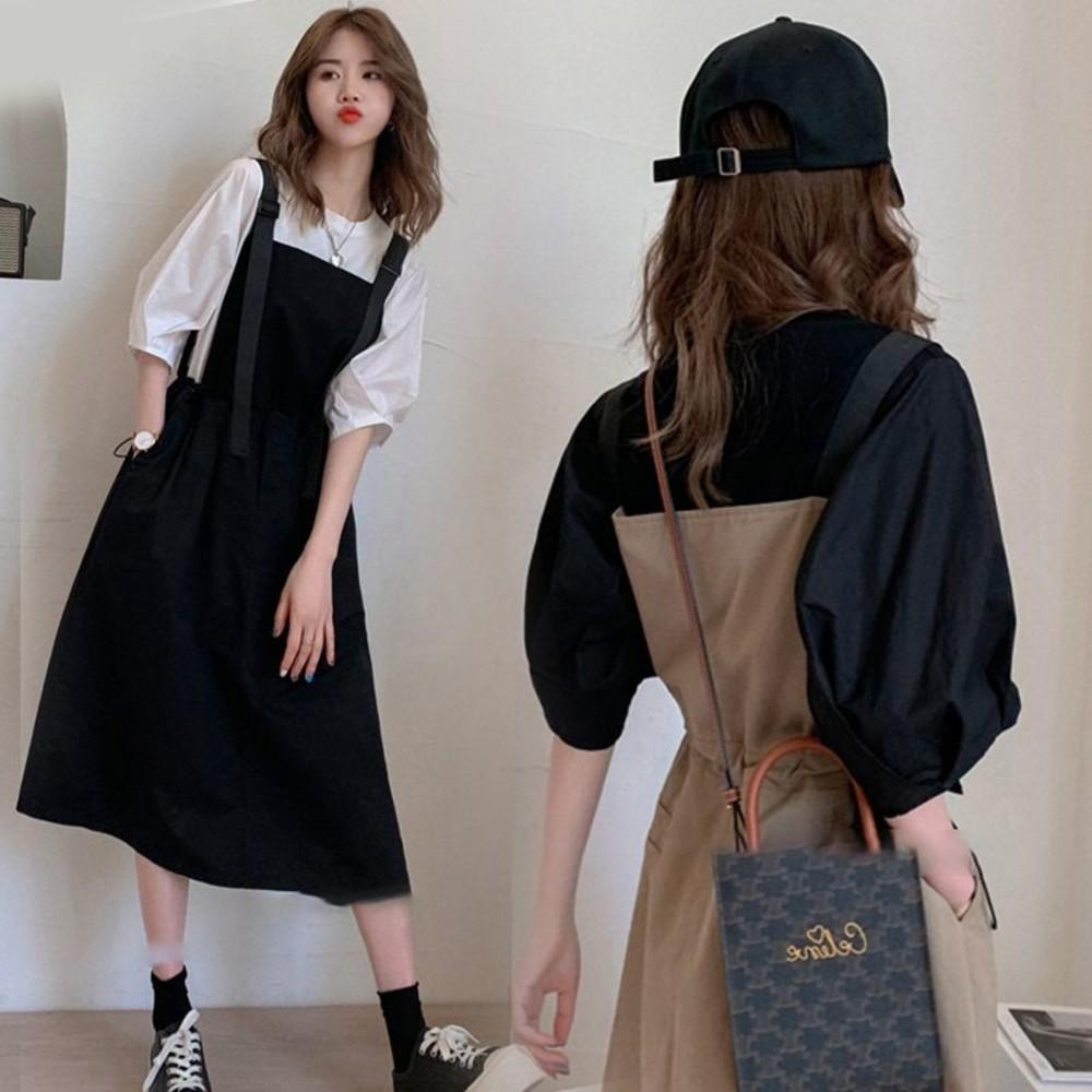 韓系 兩件式 吊帶洋裝【DS1158】泡泡袖 二件式 吊帶裙 背心裙 背心洋裝  背帶裙