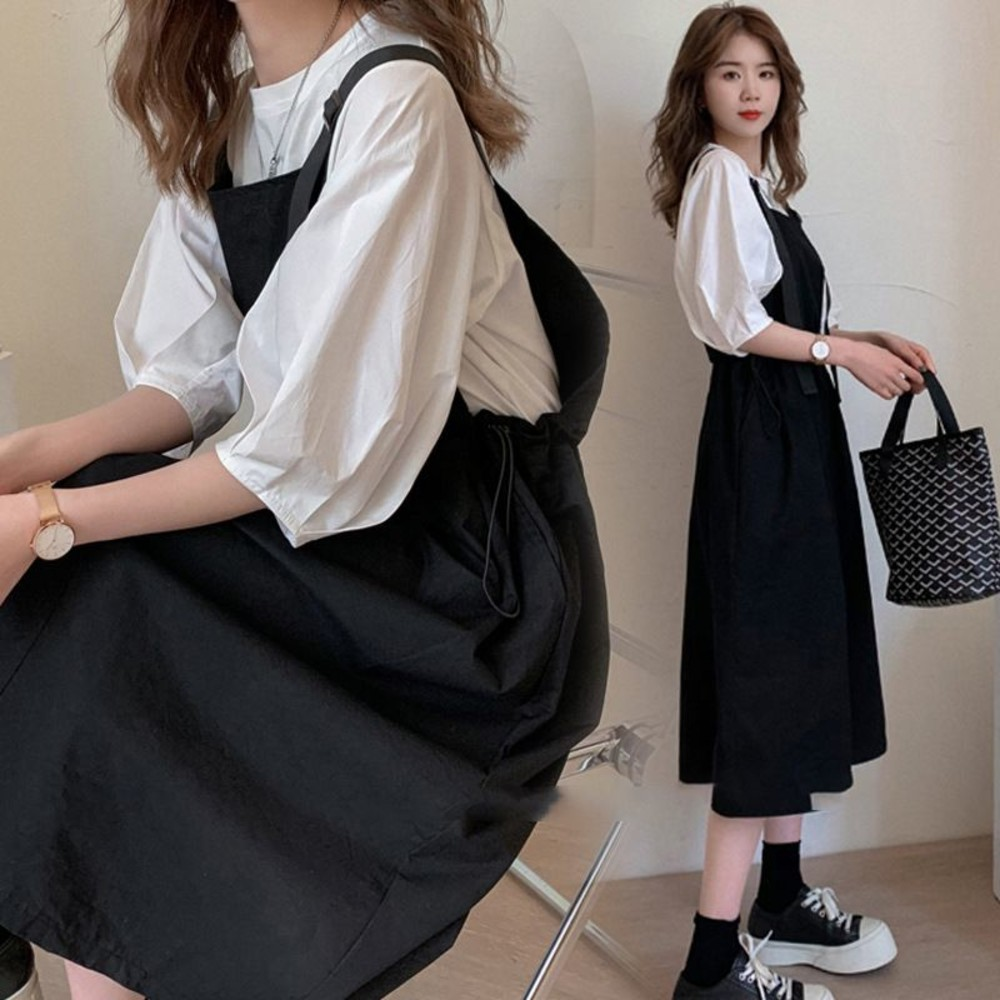 韓系 兩件式 吊帶洋裝【DS1158】泡泡袖 二件式 吊帶裙 背心裙 背心洋裝  背帶裙 封面照片