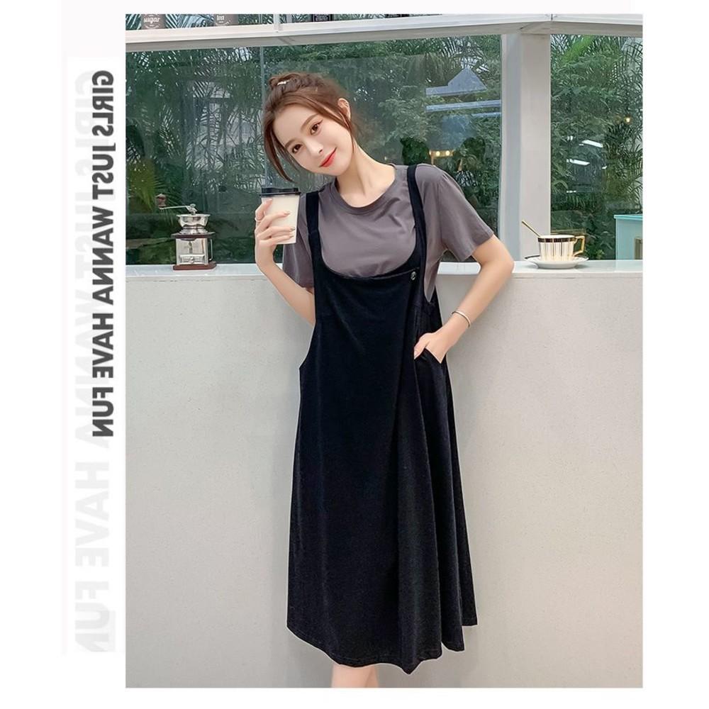 實拍 兩件式 背心裙 洋裝 背心長裙【DS1336】韓系 寬鬆 兩件套 連衣裙 孕婦可穿
