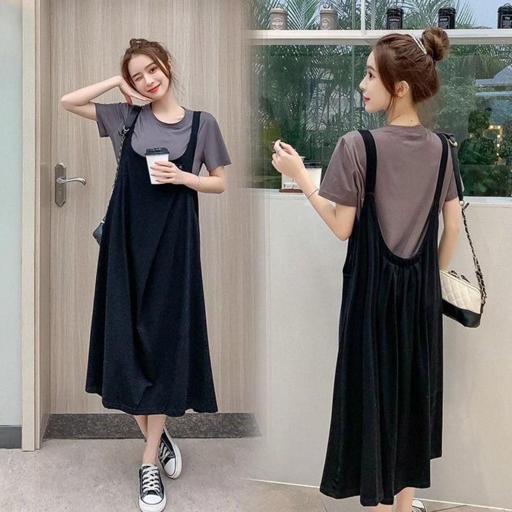 DS1336-實拍 兩件式 背心裙 洋裝 背心長裙【DS1336】韓系 寬鬆 兩件套 連衣裙 孕婦可穿