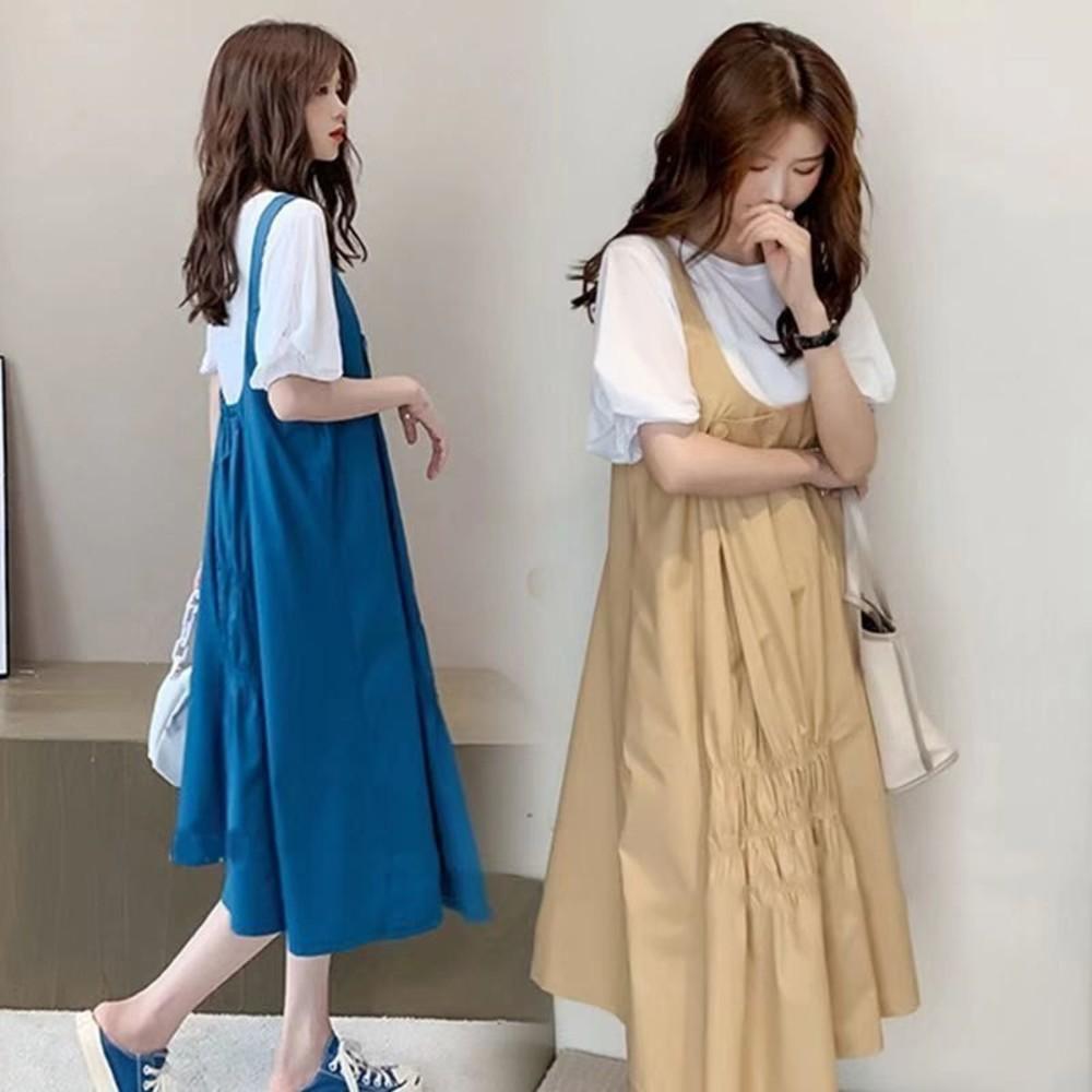 韓系 兩件式 背帶洋裝【DS2389】鈕扣 二件式 吊帶長裙 泡泡袖 棉T 背心長裙 連身裙