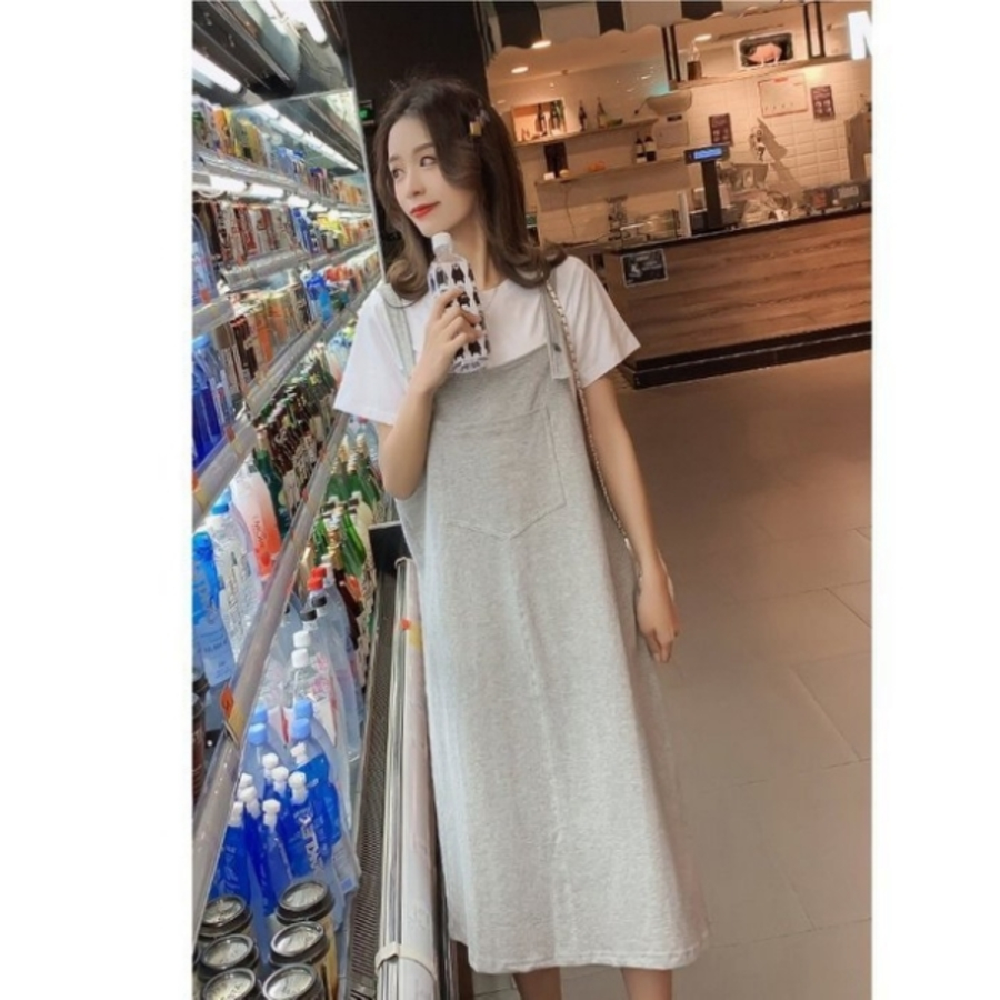 背心長裙 【DS2489】 兩件式 鄰家女孩 短袖 棉T 十 吊帶裙 孕婦裝 背心裙