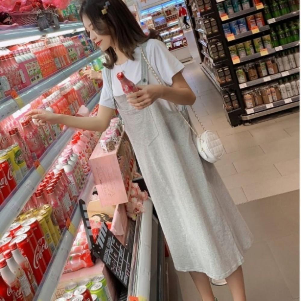 DS2489-背心長裙 【DS2489】 兩件式 鄰家女孩 短袖 棉T 十 吊帶裙 孕婦裝 背心裙