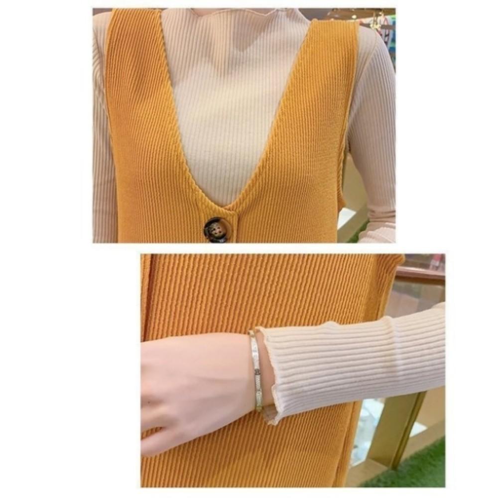 韓兩件式 背心 洋裝 【DS2833】 波浪 坑條 圓釦 V領 開叉 長裙 背心裙 孕婦裝