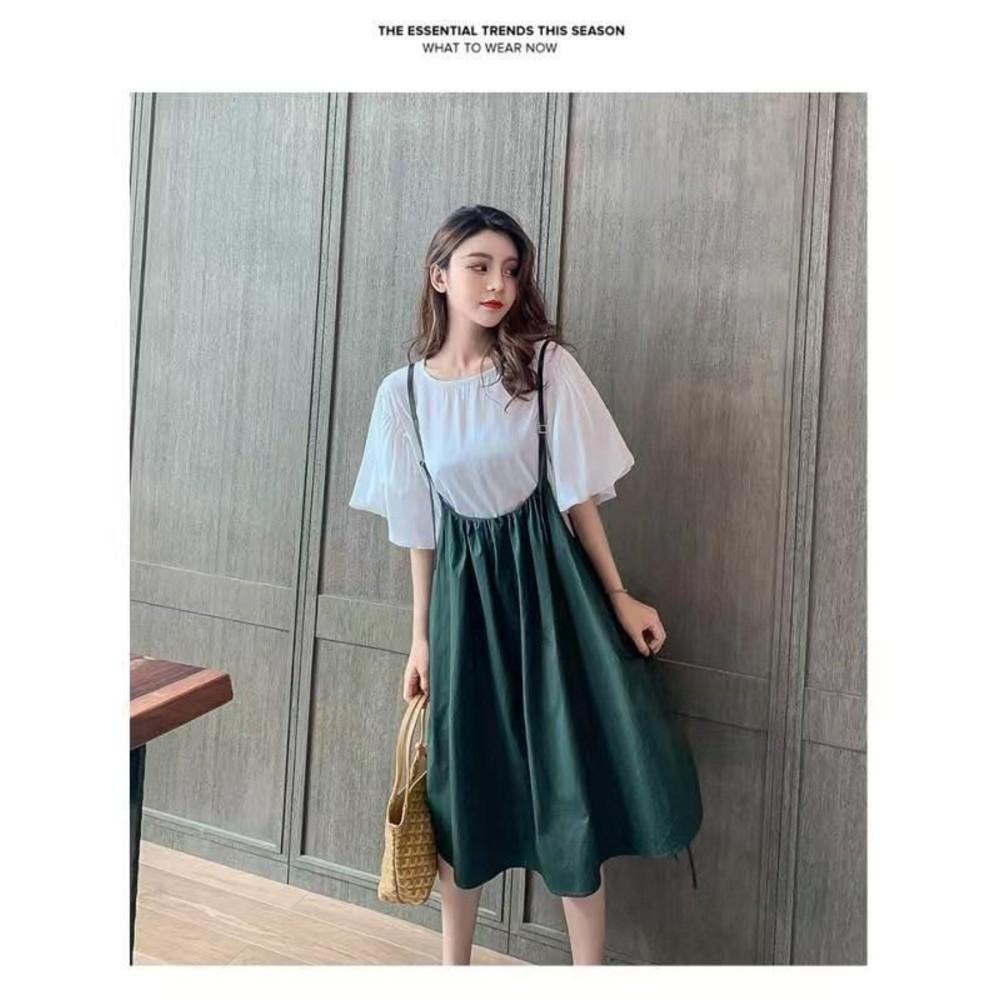 韓系 兩件式 細肩 吊帶裙【DS2863】寬袖 棉T上衣 二件式 抽繩 背心裙