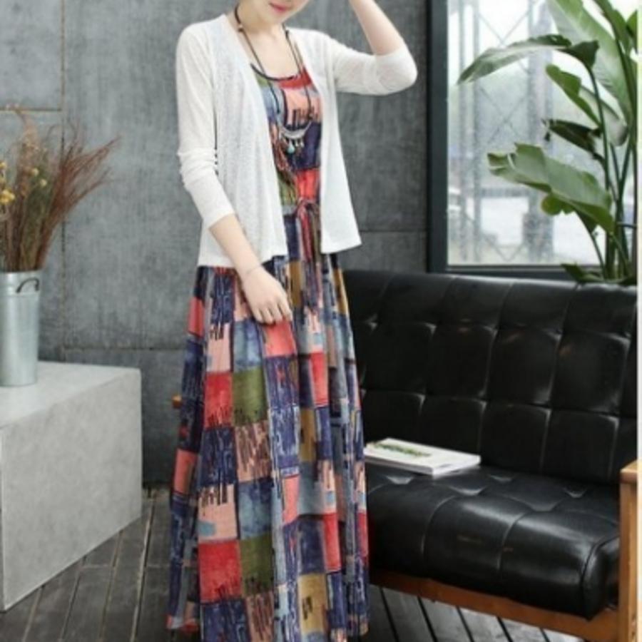 二件式水墨洋裝 【DS3809】 寬鬆 無袖 夏季薄款棉麻 含罩衫 孕婦洋裝 復古 孕婦裝