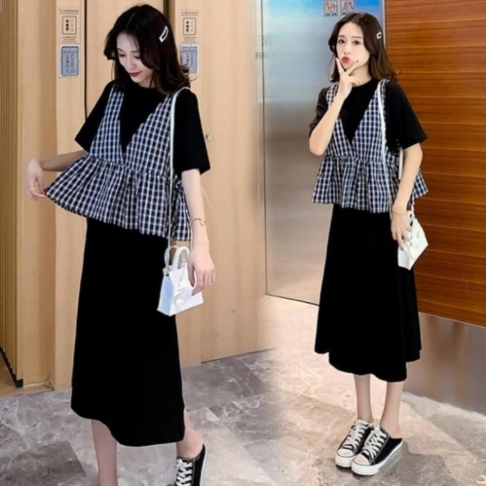 DS3916-韓系 二件式 洋裝 【DS3916】 格紋 背心 兩件式 套裝 短袖洋裝 孕婦裝 長裙