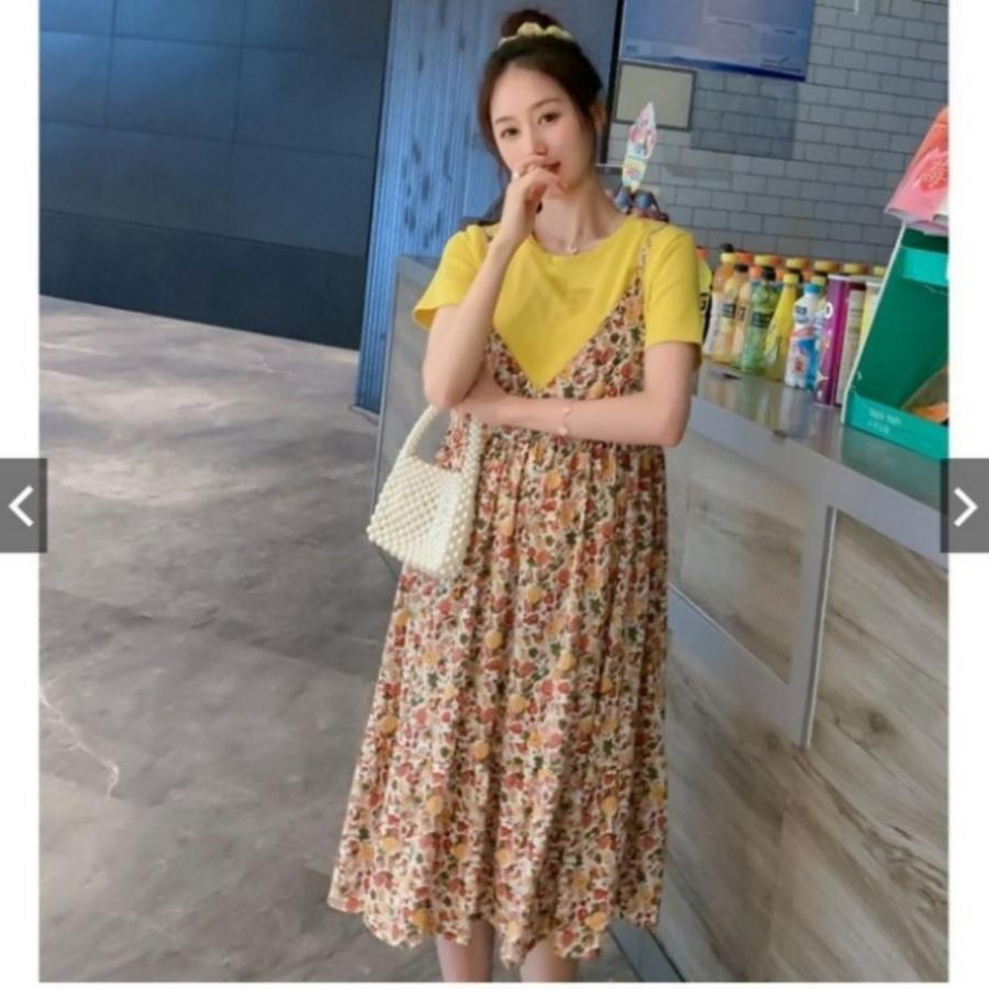 韓系 V領 小碎花洋裝 【DS4303】 碎花 細肩 吊帶裙 洋裝 短袖 棉T 真兩件 吊帶洋裝 孕