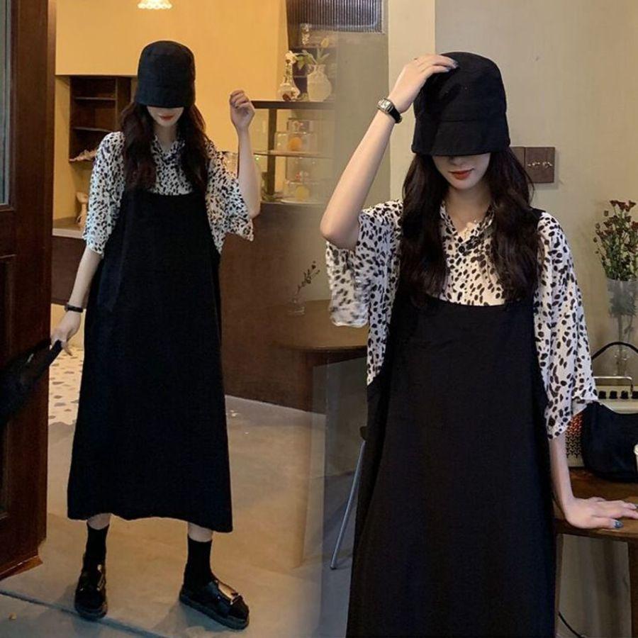 韓系 兩件式 襯衫 吊帶長裙  【DS5126】印花 短袖 襯衫 二件式 吊帶洋裝 背心裙