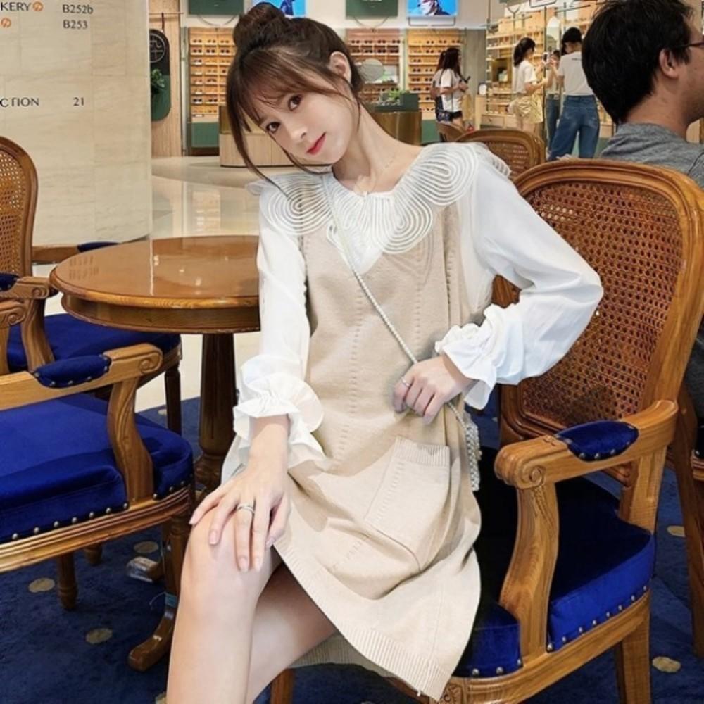 兩件式 洋裝【DS5615】韓系 超質感 背心裙 花瓣領 襯衫 長袖 洋裝 孕婦裝 針織裙
